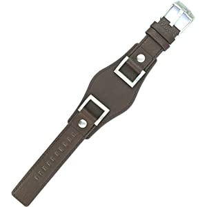 212ZTD Fit for Fossil Jake JR1157 24mm Brown Leather Watch Band Strap Free Spring BAR Tool