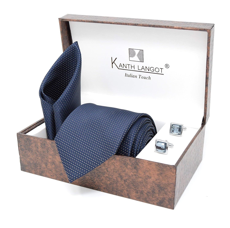 Kanthlangot Jacquard Tie Pocket Square And Cufflinks Set Dotted
