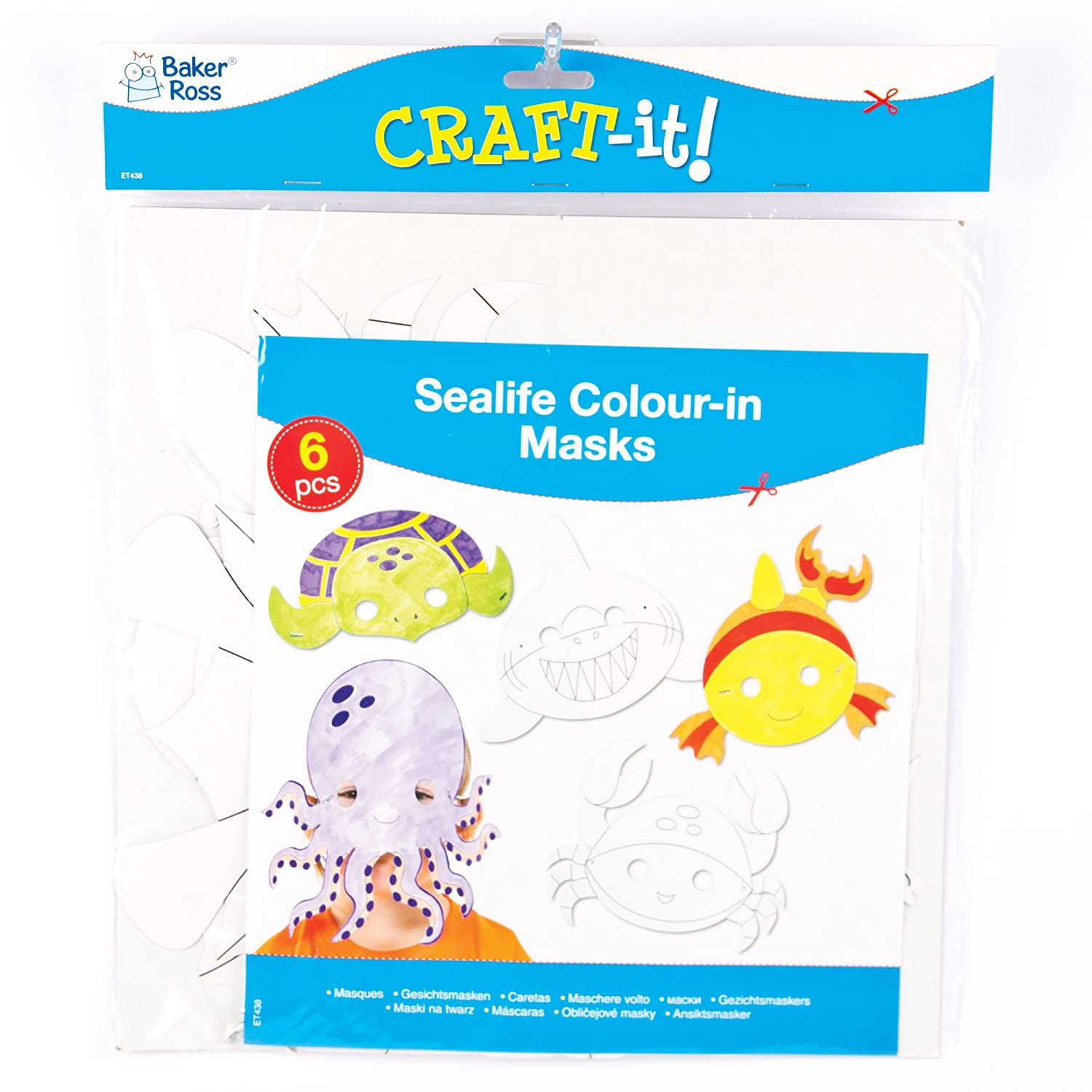 Amazon.com: Sealife Animals Colour in Craft Masks for Children to Decorate & Wear as a Part of a Costume at a Fancy Dress Party (Pack of 6): Toys & Games