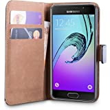 iDefend Samsung Galaxy A3 2016 (SM-A310F) Case Black Genuine Leather Wallet Cover [Includes A Free Screen Protector]