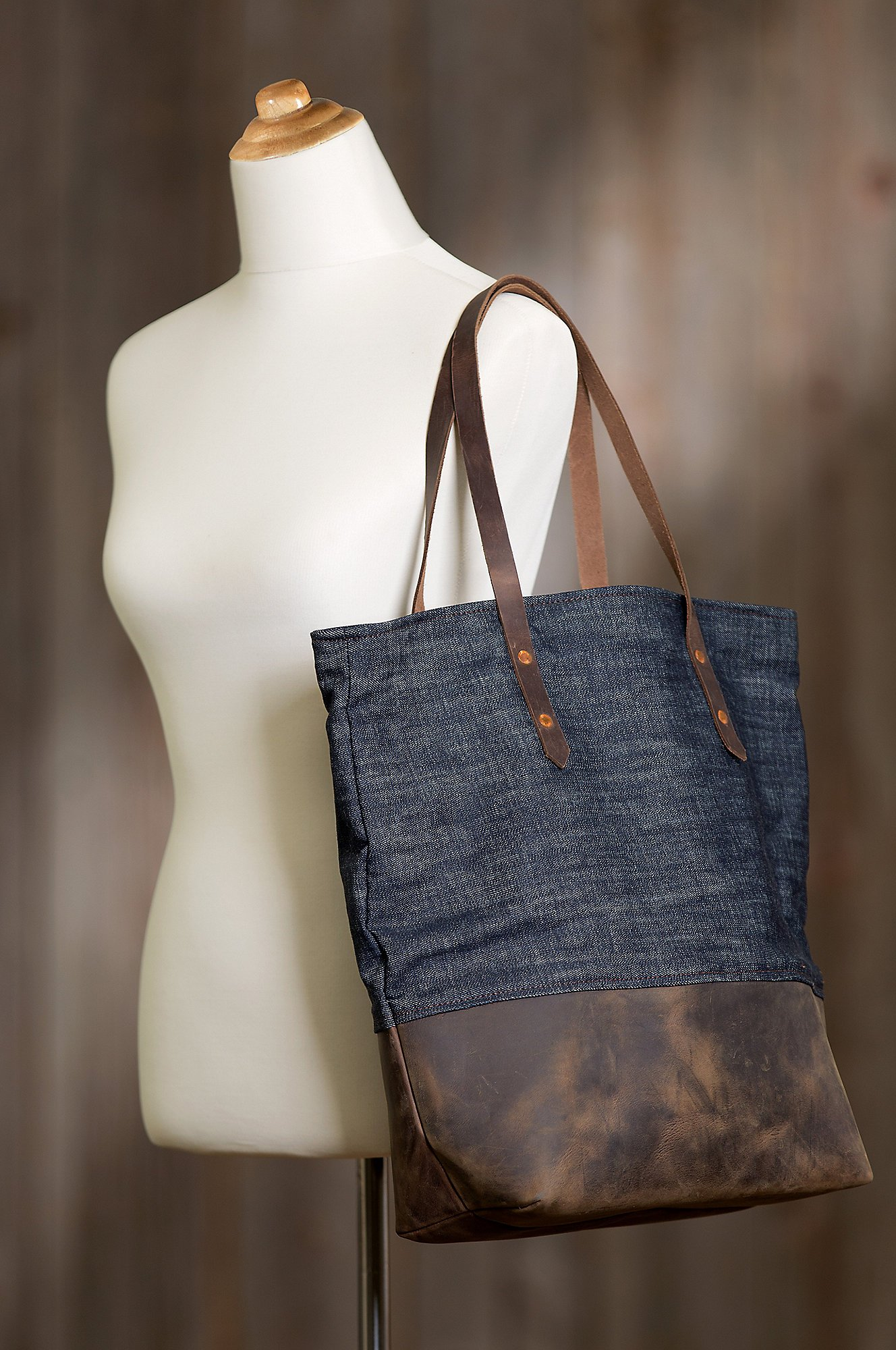 Overland Mills Denim and Leather Tote Bag by Overland Sheepskin Co (Image #6)