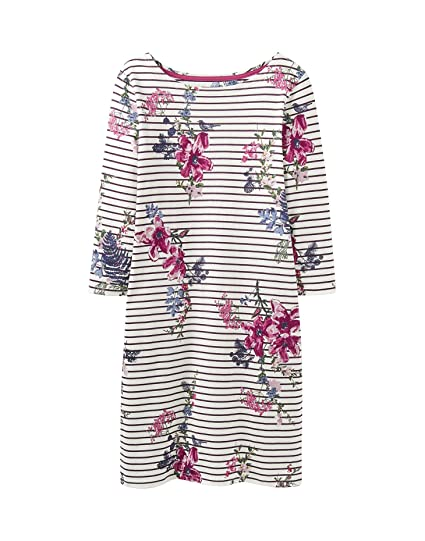 d104a24b633 Joules Ladies Plum Stripe Riviera 3 4 Length Sleeve Jersey Dress   Amazon.co.uk  Clothing