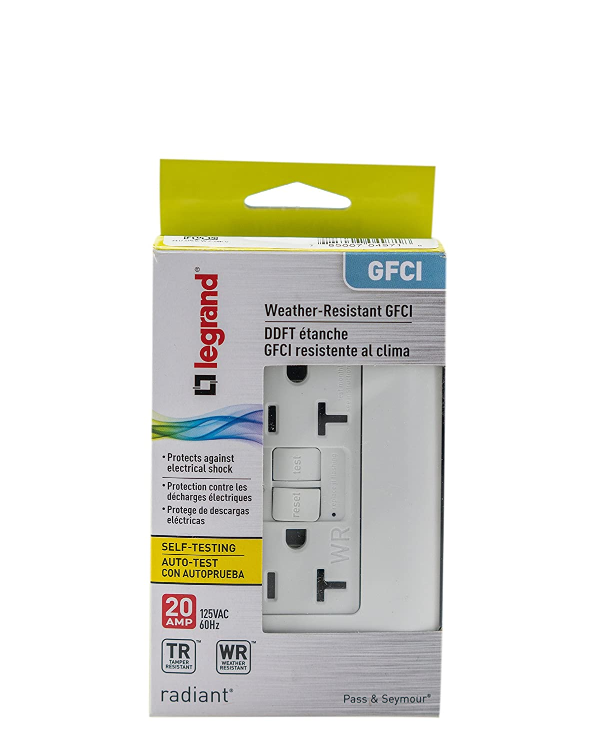 Legrand Pass Seymour Radiant 2097trwrwcc4 20 Amp Tamper Gfci Gfi 15 Resistant Tr Outlet Receptacle Weather Pro Self Test Safety White