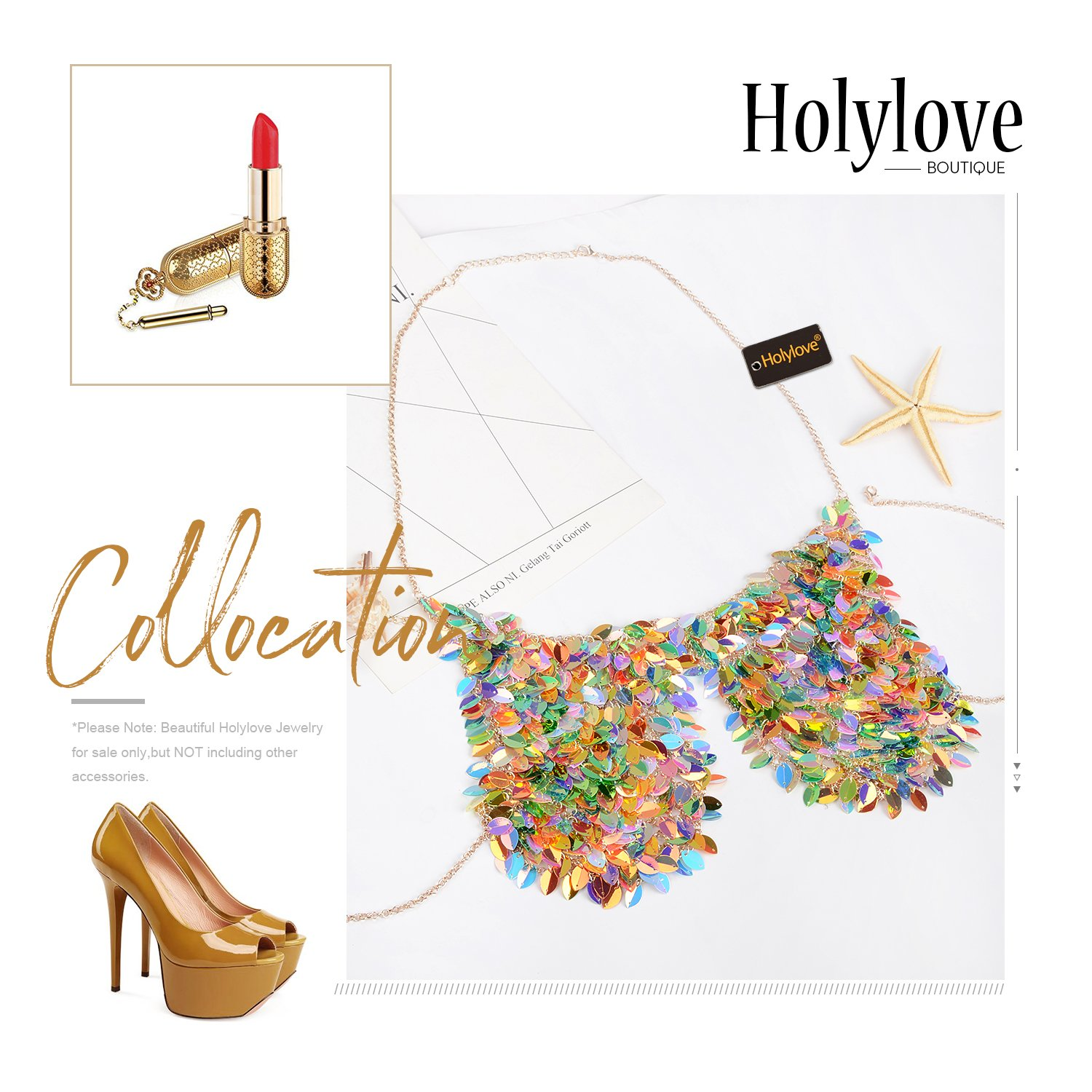 Holylove Paillette Sequin Bra Tops Body Chain Necklace Jewelry Colorful Sexy Charm for Women Lady Summer Beach Hawaiian Style Bikini Beachwear - HLBN5 Colorful by Holylove (Image #7)