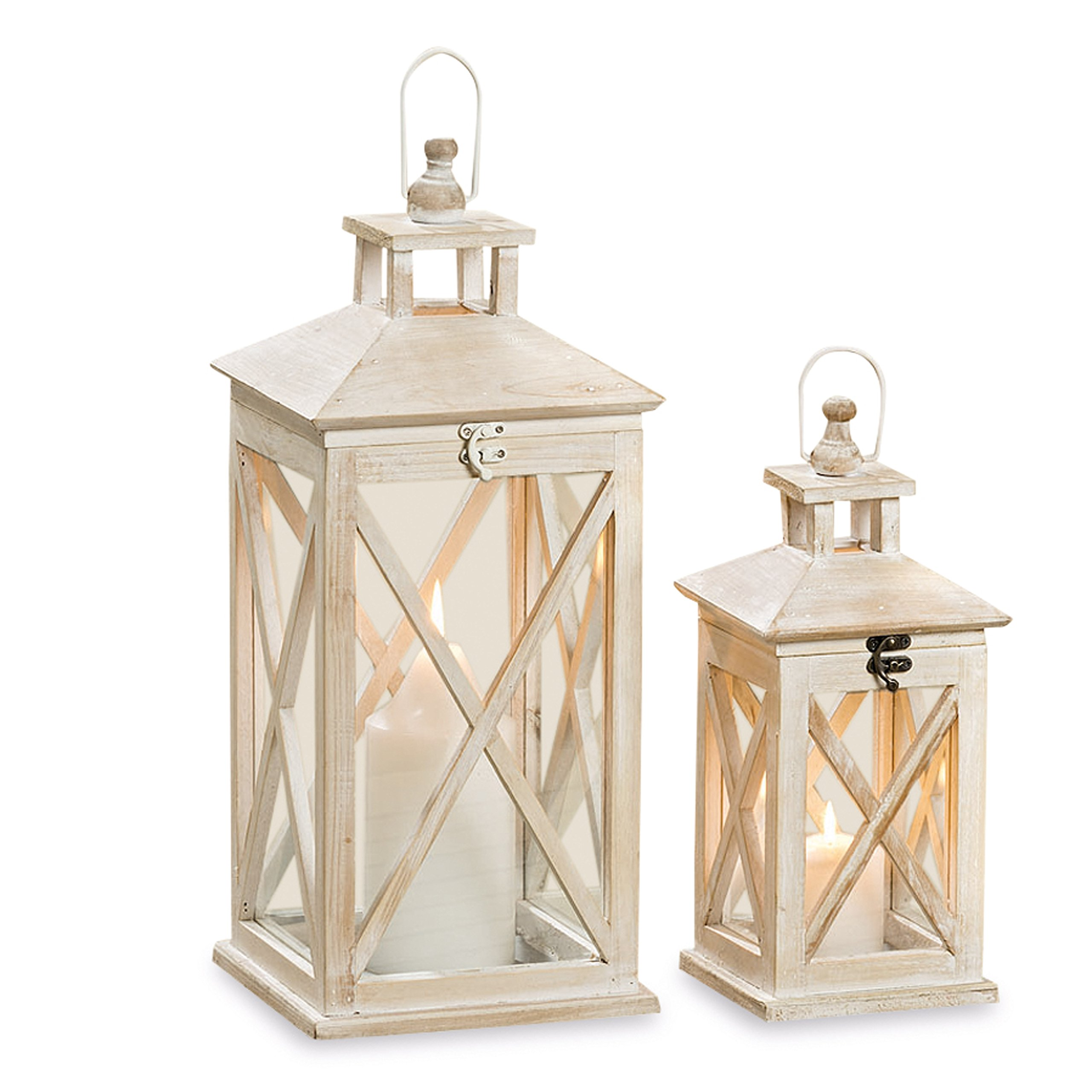 The Cape Cod Farmhouse Candle Lanterns, Set of 2, White Washed Wood, Top Opening, Cross Posts, Glass Panels, Galvanized Floor, 13 and 19 3/4 Inches Tall, By Whole House Worlds