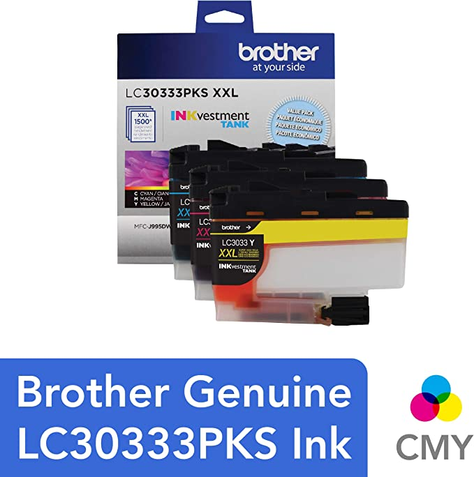Brother Genuine LC30333PKS 3-Pack, Super High-yield Color INKvestment Tank Ink Cartridges; Includes 1 Cartridge each of Cyan, Magenta & Yellow, Page ...