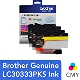Brother Genuine LC30333PKS 3-Pack, Super High-yield Color INKvestment Tank Ink Cartridges; Includes 1 Cartridge each of Cyan, Magenta & Yellow, Page Yield Up to 1,500 Pages/Cartridge, LC3033