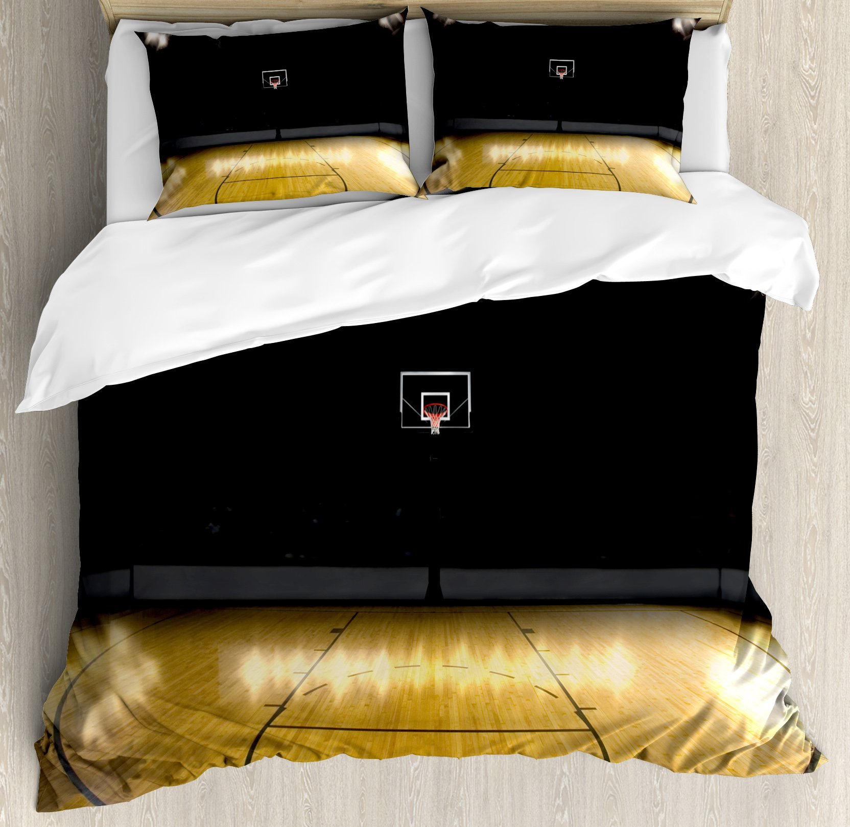 Teen Room Decor Duvet Cover Set King Size by Ambesonne, Empty Basketball Arena Competition Game Win Champion Success Theme, Decorative 3 Piece Bedding Set with 2 Pillow Shams, Light Coffee Black