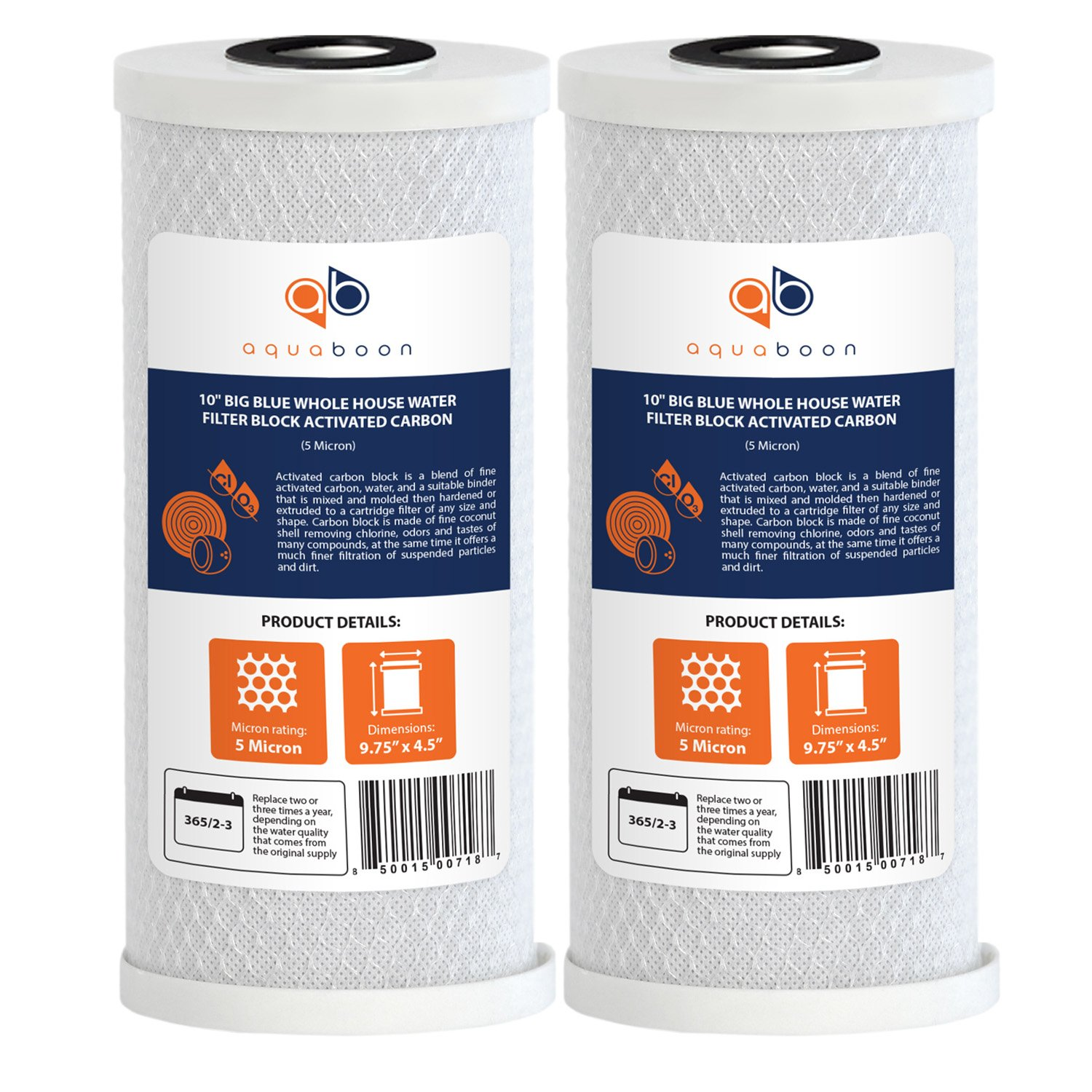 Aquaboon 2-PACK Of 5 Micron Big Blue Coconut Shell Carbon Block Water Filter Cartridge 10'' x 4.5'' by