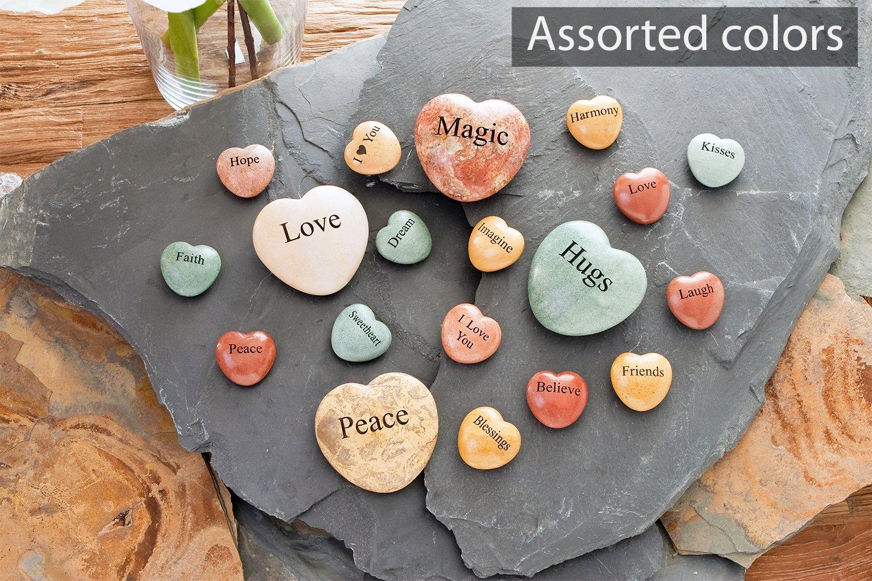 Love, Faith, Hope 2'' Jasper Heart Engraved Stones Inspirational Sandblast, Perfect Gorgeous Unique Gift Ideas Set