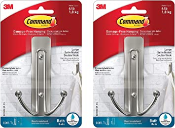 Command Silver Double Hook 1 Strip 17036BN-ES 1 Hook Indoor Use Pack of 3
