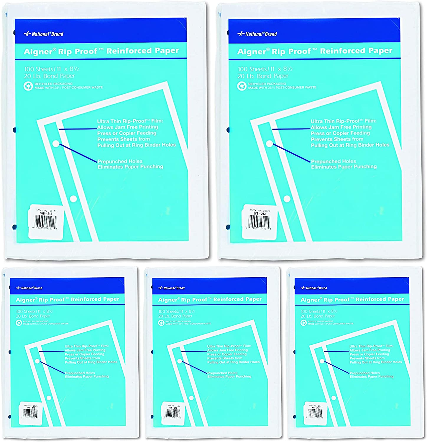 - 5 Pack 11 x 8-1//2 National 20121 Rip Proof 20-lb Reinforced Filler Paper Unruled Pack of 100 Sheets White