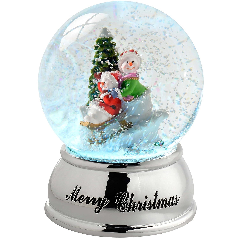WeRChristmas-Palla di Vetro con Neve e Pupazzo di Neve sulla Slitta Che Cambia di Natale, in plastica, Colore, 10 cm WRC-7294