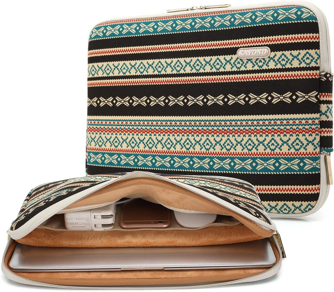 Kayond Canvas Water-Resistant 11 inch Laptop Sleeve with Pocket 11 inch 11.6 inch Laptop Case Compatible MacBook air 11 MacBook 12 Tablet (New Bohemian)
