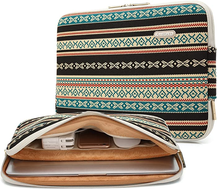 Kayond Canvas Water-Resistant 15 inch Laptop Sleeve with Pocket 15 inch 15.6 inch Laptop Case (15-15.6 inches, New Bohemian)