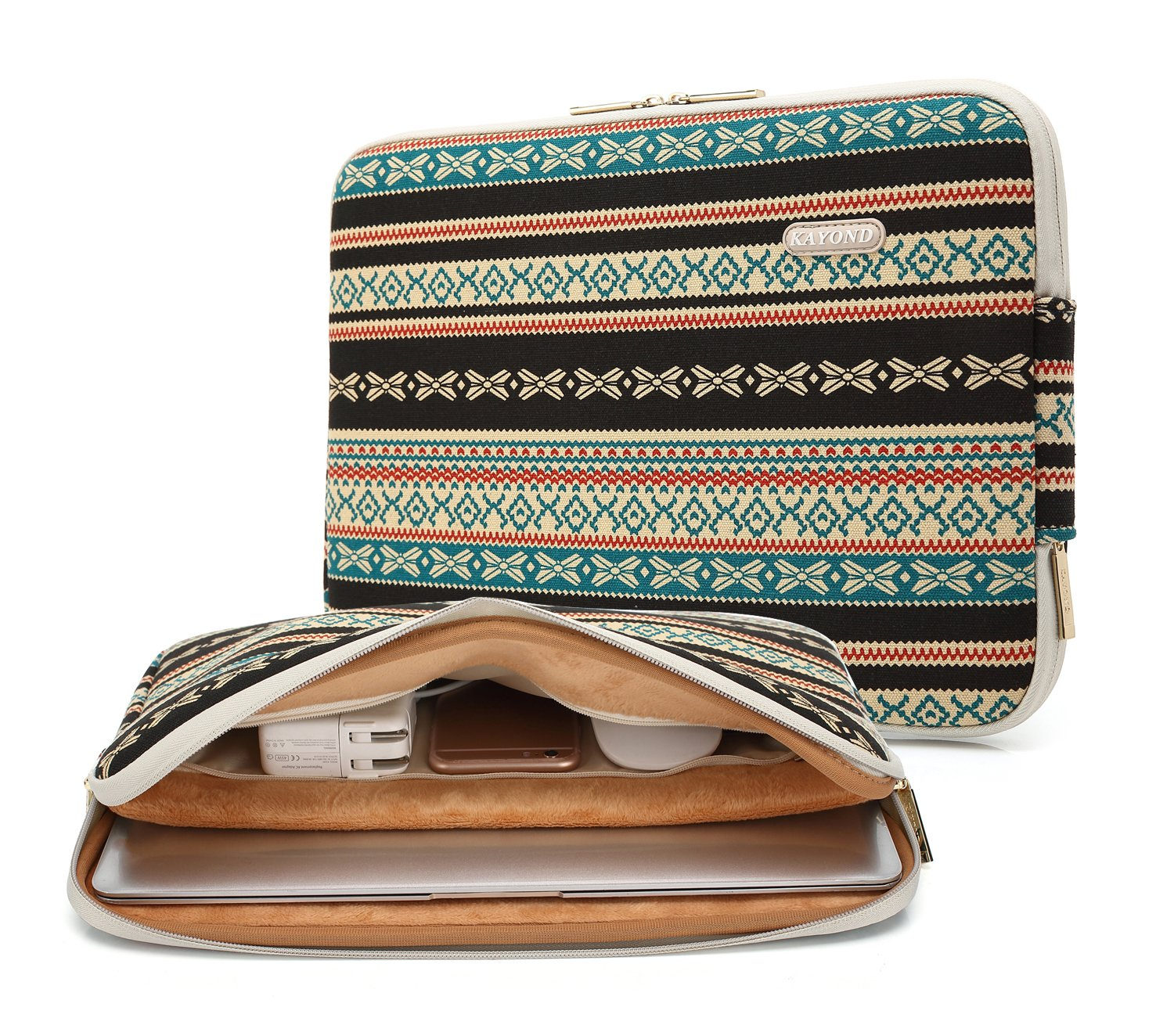 Kayond Canvas Water-Resistant 13 inch Laptop Sleeve -13 inch 13.3 inch Laptop case,12.9 inch Tablet Case Compatible MacBook(13-13.3 inches, New Bohemian) by kayond