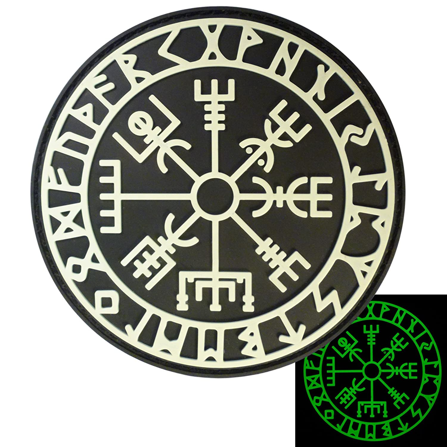 Glow Dark Vegvisir Viking Compass Norse Rune Morale Tactical PVC Rubber 3D Hook-and-Loop Patch P.1776.1.V
