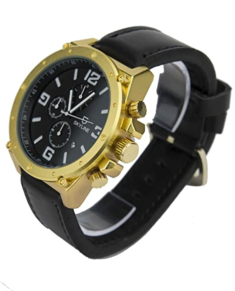 Reloj Skyline Cuero Fondo Negro