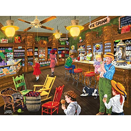 Bits and Pieces - 300 Large Piece Jigsaw Puzzle for Adults - Ice Cream's  Good Old Days - 300 pc Small Town Store Jigsaw by Artist Joseph Burgess