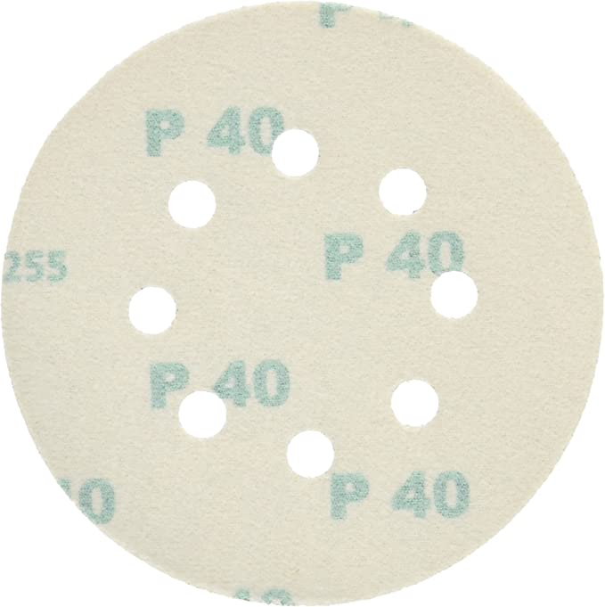 25-Pack PORTER-CABLE 735800425 5-Inch Hook and Loop Aluminum Oxide 8 Hole 40G Disc