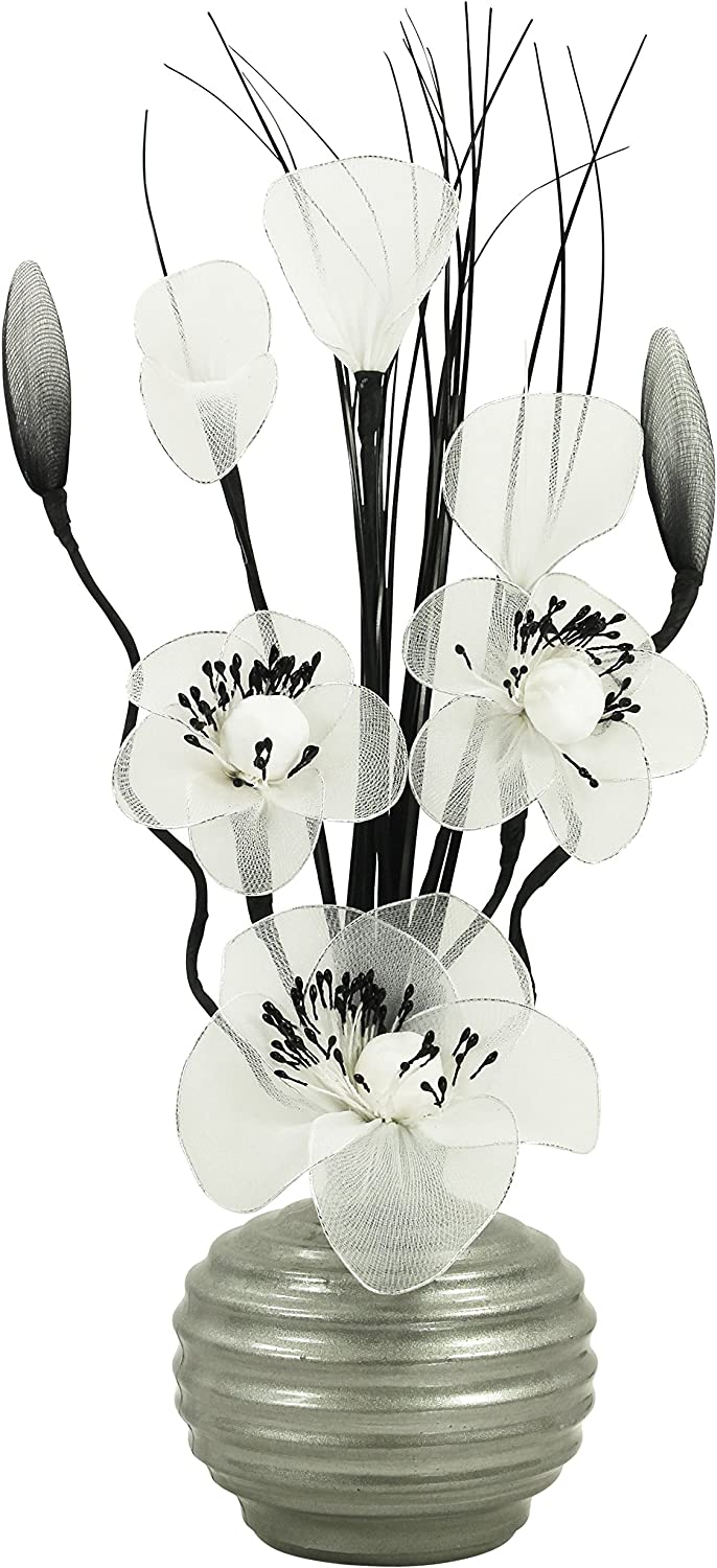 Ornaments for Living Room 32cm Light Grey Vase with White Artificial Flowers Home Accessories Window Sill