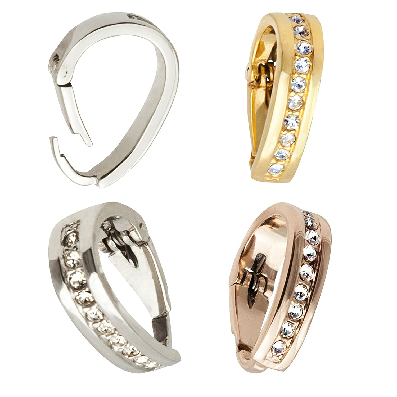 Öse Schlaufe Anhänger Clip Diamant-Imitaten Gold Silber Rosegold ...