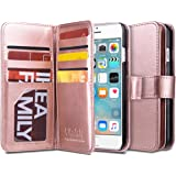 iPhone 6 Case, iPhone 6 Wallet Case, ULAK Wallet iPhone 6S Leather Case Synthetic Folio 9 Card Multi-Slots Flip for Women for Apple iPhone 6s/6 4.7 Inch (Rose Gold)