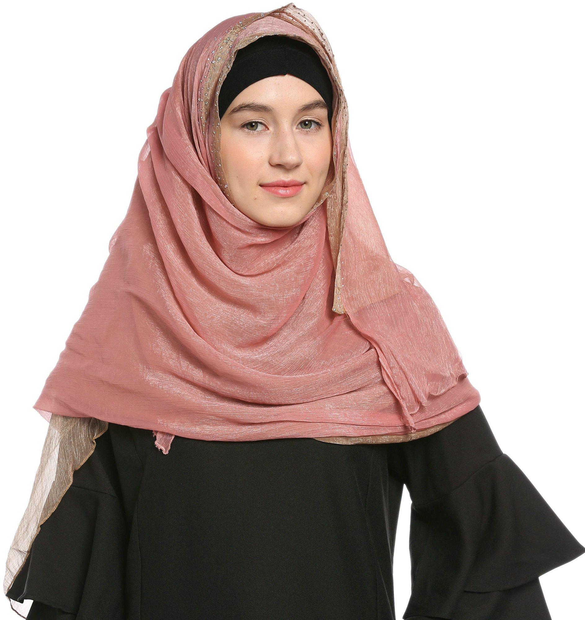 Ababalaya Lace Decorated Wedding Hijab Islamic Hijab,Color3 by Ababalaya (Image #6)