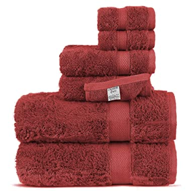 Chakir Turkish Linens Luxury Ultra Soft Bamboo 6-Piece Towel Set - Soft, Absorbent and Eco-Friendly (Cranberry)