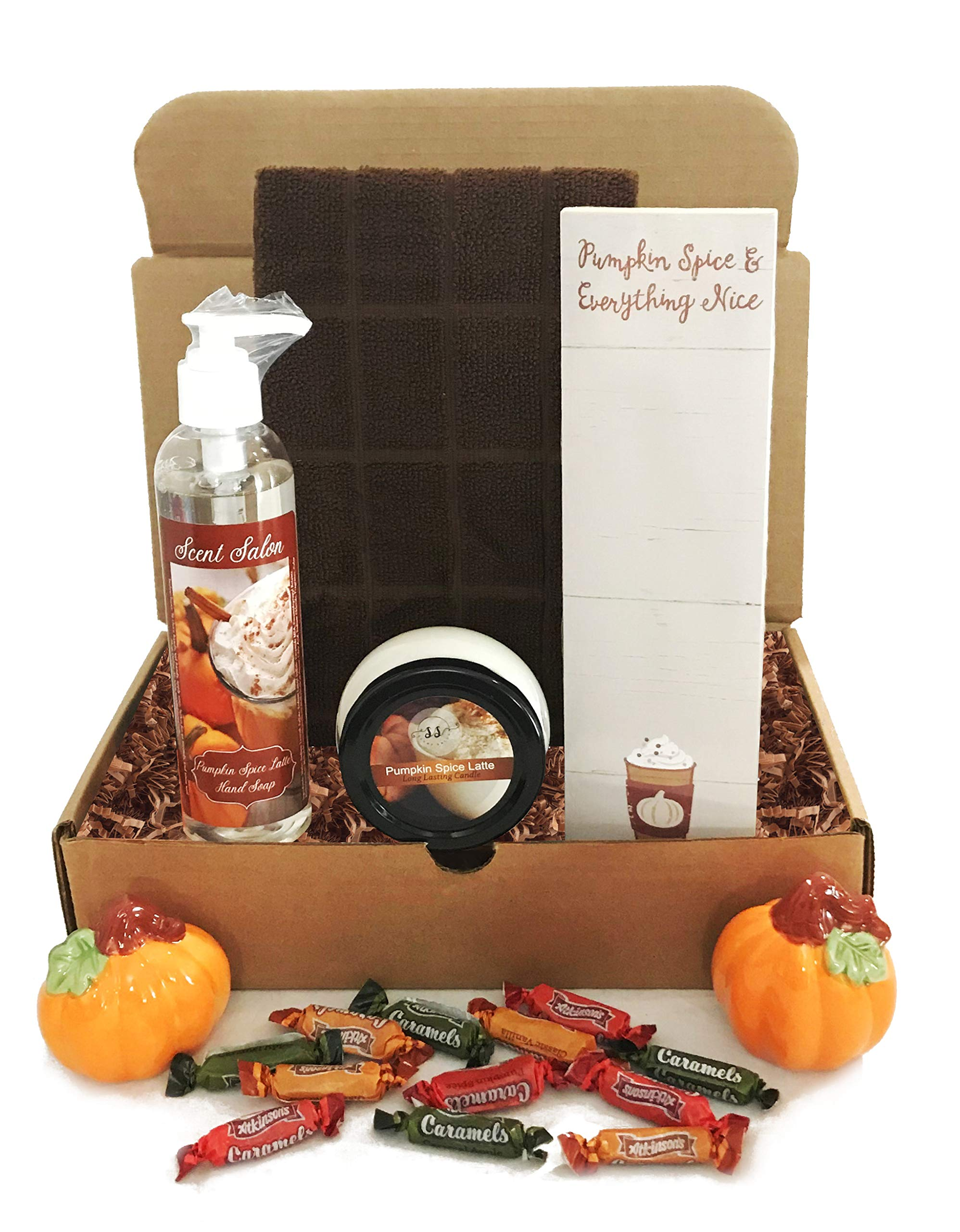 Fall Scented Candle and Fall Soap Sets - Apple Cinnamon Or Pumpkin Spice Latte - Fall Gift Basket for Teachers, Hostess, Housewarming Gifts, Care Packages (Pumpkin Spice Latte) by Golden Gift Box