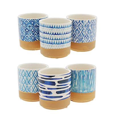 "Set of 6 Assorted Round Ceramic Planters with Blue Geometric Designs, 3.5"" : Garden & Outdoor"