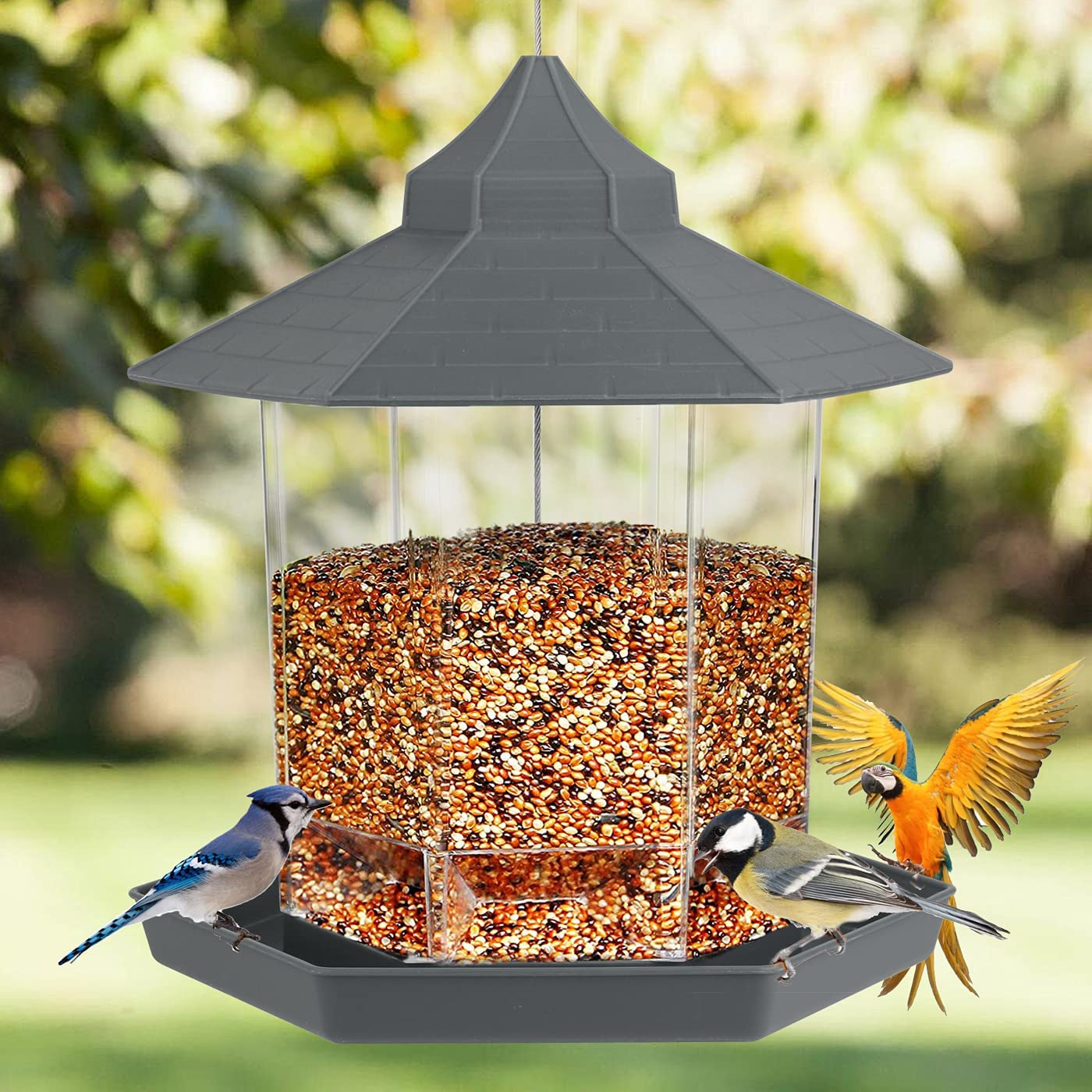 Kuanlok Hanging Wild Bird Feeder, Outside Decoration -Perfect for Attracting Birds on Outdoor Garden Yard, Hexagon Shaped with Roof Avoid Water (Gray)
