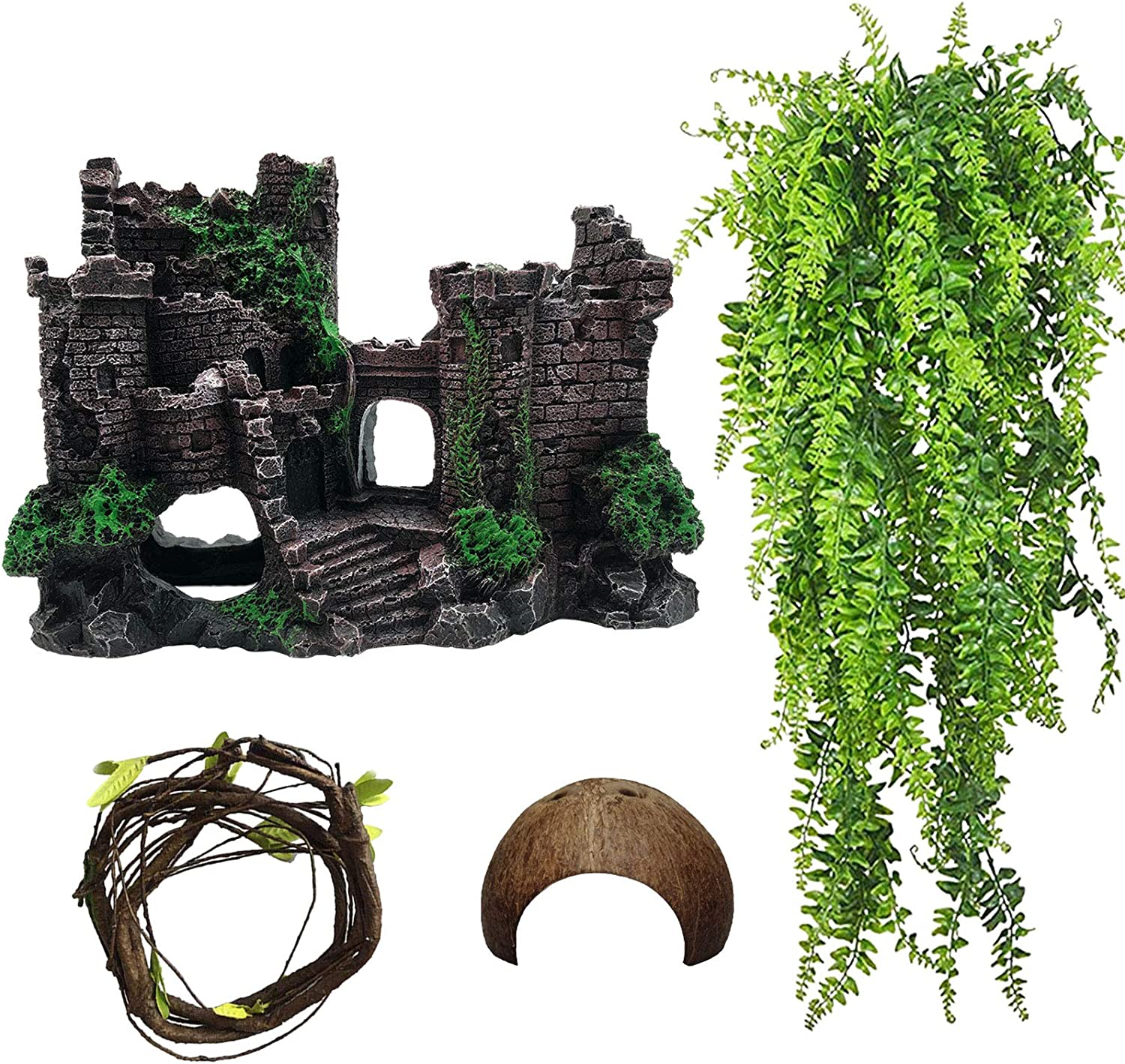Tfwadmx Resin Classical Castle Reptile Habitat Decorations Lizard Hideouts Cave Coconut Shell Hut Realistic Details Ornament Aquarium Accessories for Bearded Dragons,Snake,Gecko and Hermit Crabs