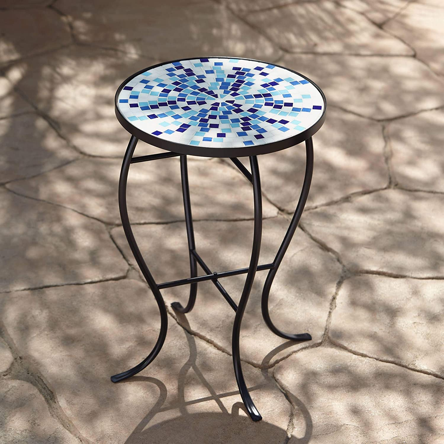 Teal Island Designs Multi Blue Mosaic Black Iron Outdoor Accent Table