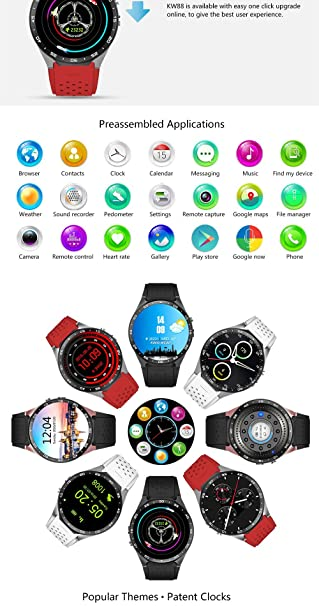Amazon.com: KW88 Wifi Smart Watch Phone Android 5.1 System Sports Round SmartWatch Google Play Accurate GPS Map Pedometers with Touch Camera (White): Cell ...