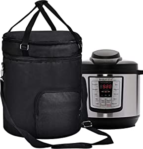 Pressure Cooker Travel Tote Bag, 2 Compartments Travel Tote Case for Cooker Accessories,Kitchen Round Applicances Storage Bag(Enclosed on the Bottom) (Black, Fit for 8 QT Instant Pot)