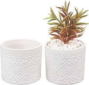 MyGift 4-Inch White Ceramic Floral Embossed Succulent Planter Pots, Set of 2