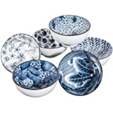 Swuut Japanese Style Ceramic Cereal Bowls,10 Ounces Salad,Soup,Rice Bowl Set Blue and White(4.5 Inch)