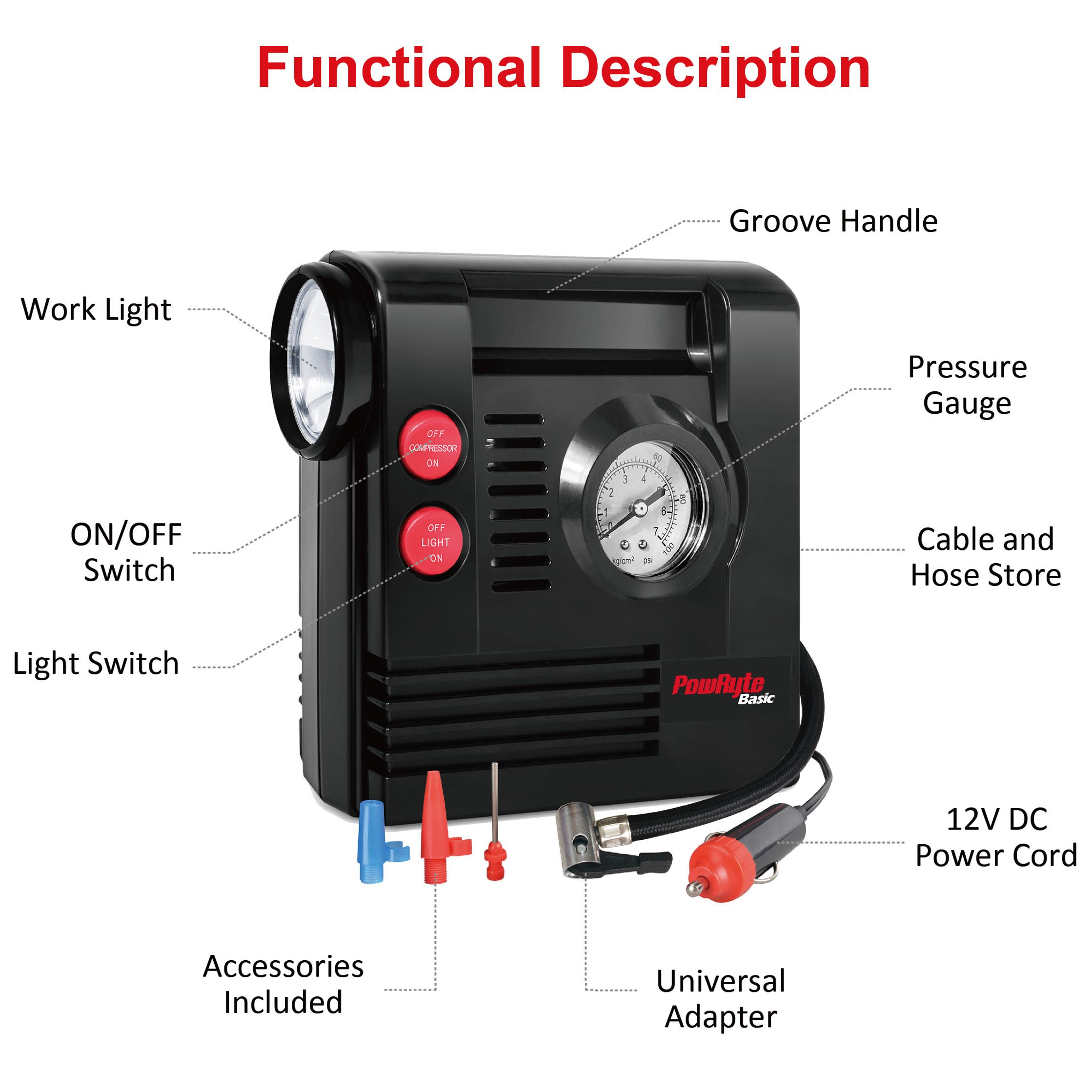 PowRyte Compact Digital Tire Inflator with Built-in Flashlight - Portable Air Compressor (Tire Inflator) by PowRyte (Image #4)