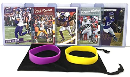 a7063cbc Minnesota Vikings Cards: Adam Thielen, Steffon Diggs, Kirk Cousins, Dalvin  Cook, Latavius Murray ASSORTED Football Trading Card and Wristbands Bundle