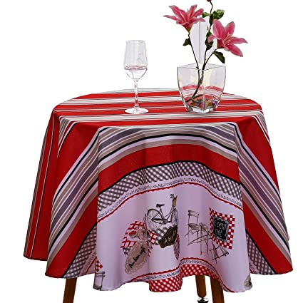 JIATER Stripes Design Table Cloth Spillproof Polyester Fabric Round  Tablecloths (60u0026quot; Round, Red
