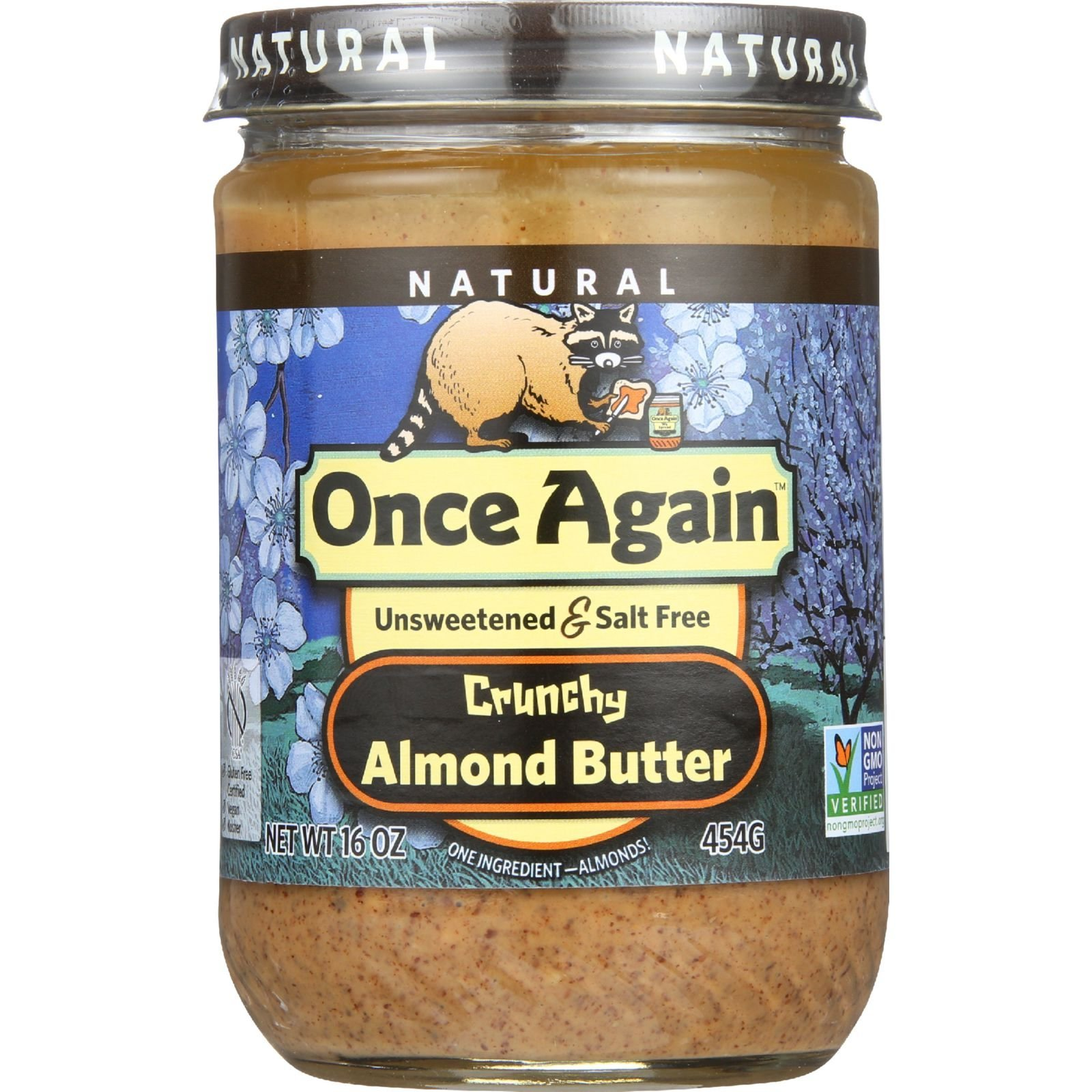 Once Again Almond Butter - All Natural - Crunchy - Salt Free - 16 oz - case of 12 - Unsweetened - Gluten Free