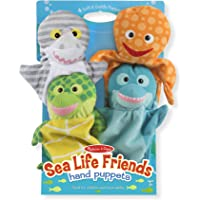 Melissa & Doug Sea Life Friends Hand Puppets, Puppet Sets, Shark, Dolphin, Sea Turtle, and Octopus, Soft Plush Material, Set of 4
