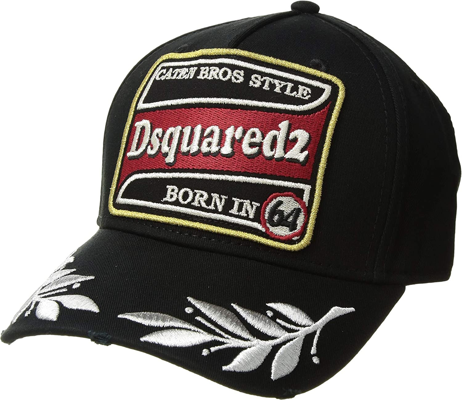 0e871581922 Amazon.com  DSQUARED2 Men s Embroidered Patch Baseball Cap Black Silver One  Size  Clothing