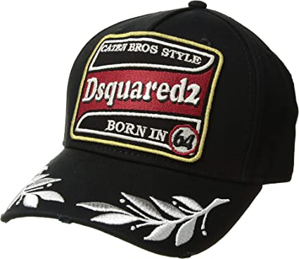 91a5ed9174eff Amazon.com  DSQUARED2 Men s Embroidered Patch Baseball Cap Black ...