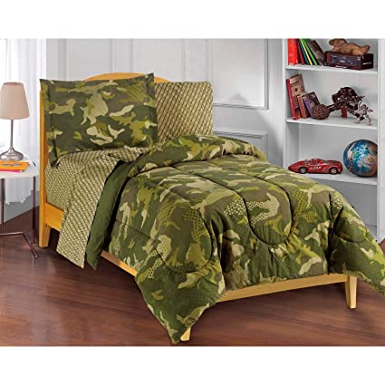 7 Piece Kids Green Camouflage Pattern Comforter With Sheets Full Set, Brown  Army Camo Bedding