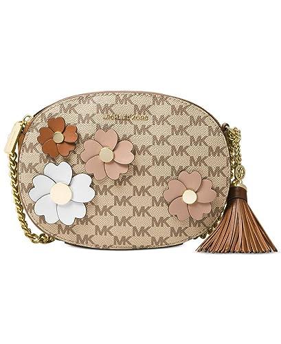 f9c3e4071335 Amazon.com: MICHAEL Michael Kors Flora Appliqué Ginny Medium Messenger  Signature Bag , Natural / Luggage: Shoes