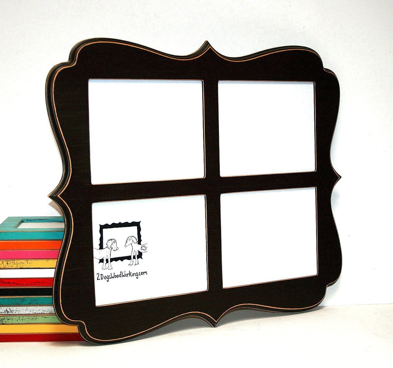 Collage picture frame 4) 8x10 openings, vertical or horizontal, Whimsical Multiple large wall hanging frames, Multi opening photo frame