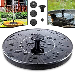 Solar Bird Bath Fountain Pump Solar Fountain Upgraded with 5 Nozzle, Free Standing Floating Solar Powered Water Fountain Pump for Bird Bath Garden Pond Pool Outdoor by Ejoy
