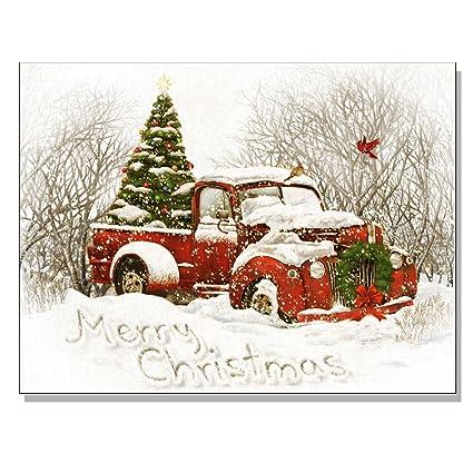 trendy decor 4 u 64320 c lighted canvas vintage christmas tree truck - Vintage Christmas Pictures